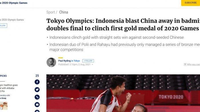 Greysia Polii/Apriyani Rahayu berhasil membawa pulang medali emas dalam laga final Olimpiade Tokyo 2020 melawan ganda China, Chen Qing Chen/Jia Yi Fan, pada Senin (2/8/2021).