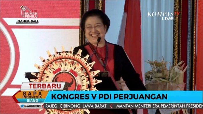 Megawati Soekarnoputri dalam Kongres V PDIP di Grand Inna Beach Hotel, Sanur, Bali, Kamis (8/8/2019).