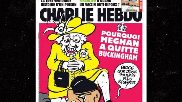 Majalah Prancis Rilis Kartun Ratu Elizabeth Injak Leher Meghan Markle, Adaptasi Insiden George Floyd