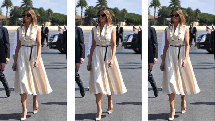 Temani Donald Trump Tur Asia, Melania Tampak Cantik Berbalut Gaun Rancangan Dior hingga Fendi