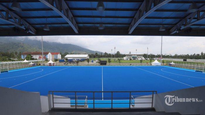 Suasana Venue Hockey Indoor dan Outdoor yang akan digunakan pada ajang olahraga 4 tahunan sekali PON XX Papua di Kampung Doyo Lama, Kabupaten, Sentani, Jayapura, Papua, Jumat (24/9/2021). Event tersebut akan berlangsung pada 4 hingga 12 Oktober 2021. Tribunnews/Jeprima