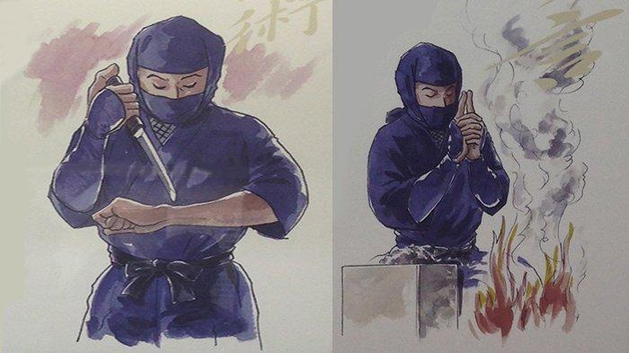 Mencederai diri untuk mengingat kembali memori yang terlupa oleh Ninja (kiri) dan hipnotis yang dimiliki Ninja (kanan). (Koresponden Tribunnews.com/Richard Susilo)