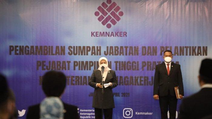 Menaker Ida Lantik Pejabat Tinggi Pratama di Lingkungan Kemnaker