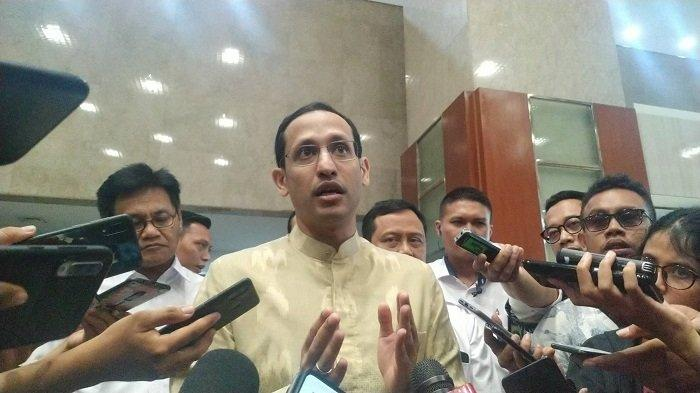 Mendikbud Nadiem Makarim di Kompleks Parlemen Senayan, Jakarta Pusat, Kamis (20/2/2020)