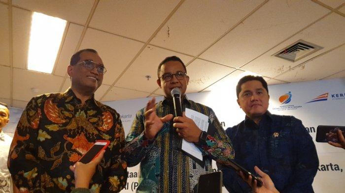 Menhub Budi Karya, Gubernur Anies, dan Menteri BUMN Erick Thohir