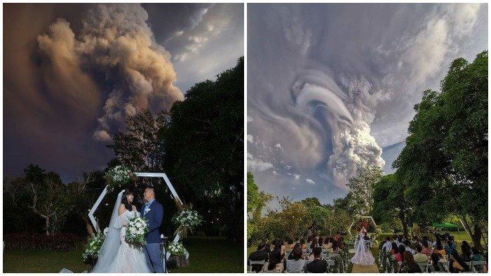 Pasangan Ini Nekat Gelar Pernikahan Saat Gunung Taal Erupsi, Foto-fotonya Dramatis