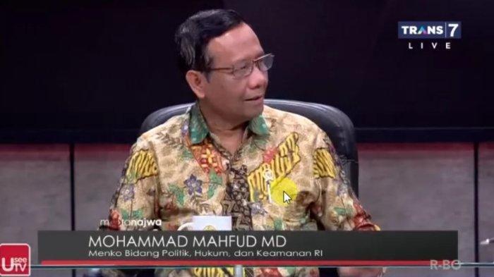 Menko Polhukam Mahfud MD dalam tayangan Mata Najwa, Rabu (29/1/2020).