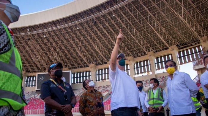 Menko Airlangga Mengunjungi Venue Stadion Lukas Enembe dan meninjau Rencana Prokes untuk PON XX