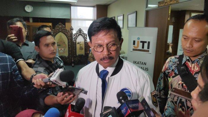 Menkominfo Johnny G. Plate di Gedung Dewan Pers, Jalan Kebon Sirih, Jakarta Pusat, Selasa (10/3/2020).