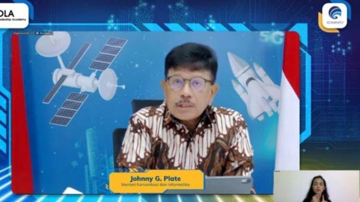 Menteri Komunikasi dan Informatika (Menkominfo) Johnny G Plate saat Pembukaan Program Digitalisasi Leadership Academy (DLA) Tahun 2021 melalui siaran YouTube Kemkominfo TV, Senin (13/9/2021).