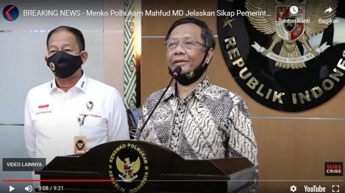 Menkopolhukam Mahfud MD memberikan keterangan pers, Rabu (15/7/2020) soal sikap pemerintah atas RUU HIP