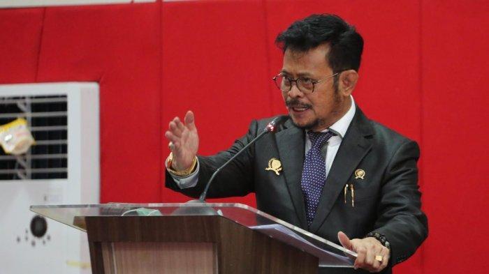 Menteri Pertanian (Mentan) Syahrul Yasin Limpo pada puncak peringatan dies natalis Fakultas Hukum Universitas Hassanudin (Unhas) Makasar, Rabu (17/3/2021).