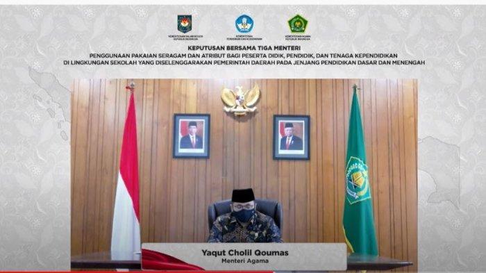 Menteri Agama Yaqut Cholil Qoumas singgung kasus aturan sekolah wajiblkan jilbab di Padang hanya puncak gunung es, saat mengumumkan SKB 3 Menteri soal Larangan Sekolah Negeri dan Pemda Wajibkan Siswa Seragaman Beratribut Agama, Rabu (3/2/2021).