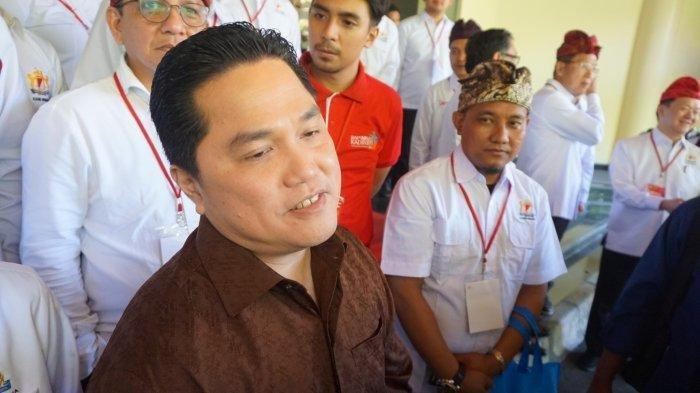 Menteri BUMN, Erick Thohir, memberikan keterangan pers setelah  menghadiri pembukaan Rapimnas Kadin 2019 di Nusa Dua Bali, Jumat (29/11/2019).