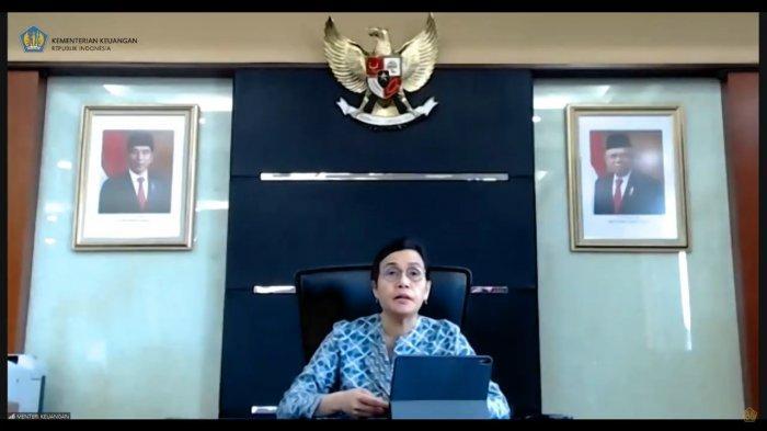 Menteri Keuangan, Sri Mulyani Indrawati saat umumkan rencana pencairan gaji ke-13