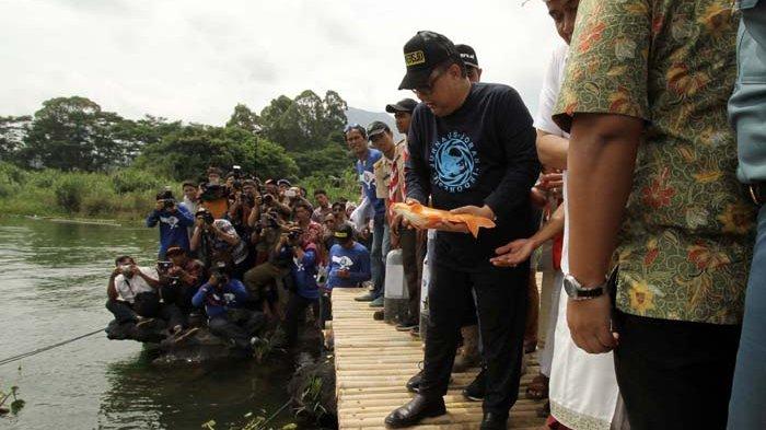 Hadiri Ultah Jojoners, Menteri Puspayoga Tebar Bibit Ikan di Danau Batur Kintamani