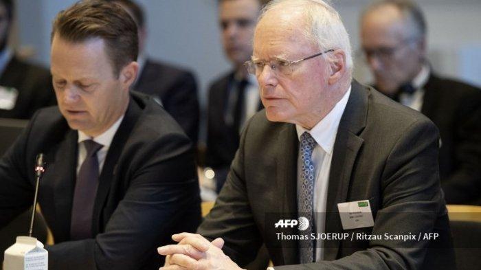 Menteri Luar Negeri Denmark Jeppe Kofoed (kiri) dan Utusan Khusus Amerika Serikat James Jeffrey menghadiri pertemuan Koalisi Global melawan kelompok Negara Islam (IS) di Kementerian Luar Negeri di Kopenhagen, pada 29 Januari 2020.