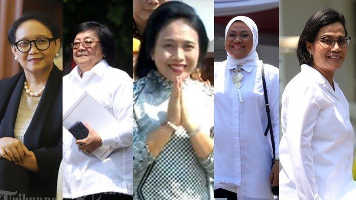 Menteri Keuangan Sri Mulyani, Menteri Luar Negeri Retno Marsudi, Menteri Tenaga Kerja Ida Fauziah, Menteri LHK Siti Nurbaya Bakar, dan Menteri Pemberdayaan Perempuan dan Anak I Gusti Ayu Bintang yang tergabung dalam Kabinet Indonesia Maju.