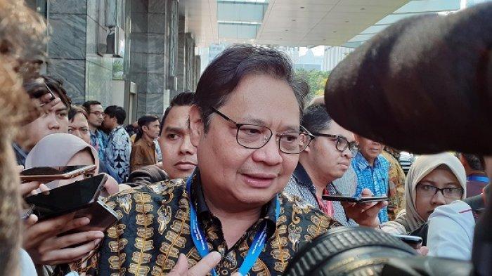 Menteri Perindustrian RI Airlangga Hartanto di hotel kawasan Kuningan, Jakarta Selatan, Kamis (17/10/2019).