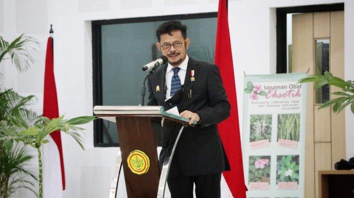 Menteri Pertanian (Mentan) Syahrul Yasin Limpo saat membuka talkshow komoditas Porang yang digelar di Auditorium Puslitbangtan, Cimanggu, Bogor, Jawa Barat.