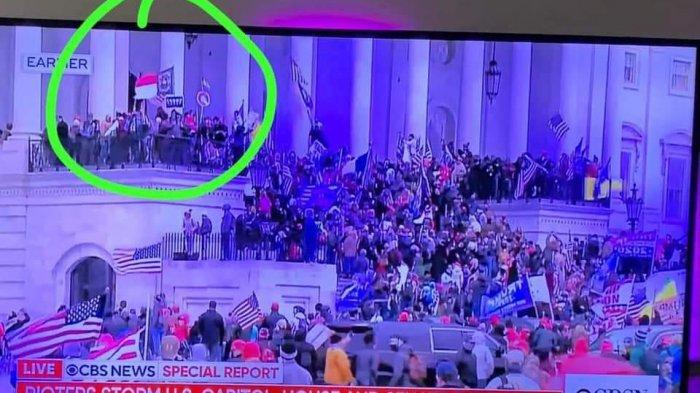Penampakan Bendera Merah Putih di Capitol Hill Saat Demo para Pendukung Trump, Ternyata Ini Faktanya