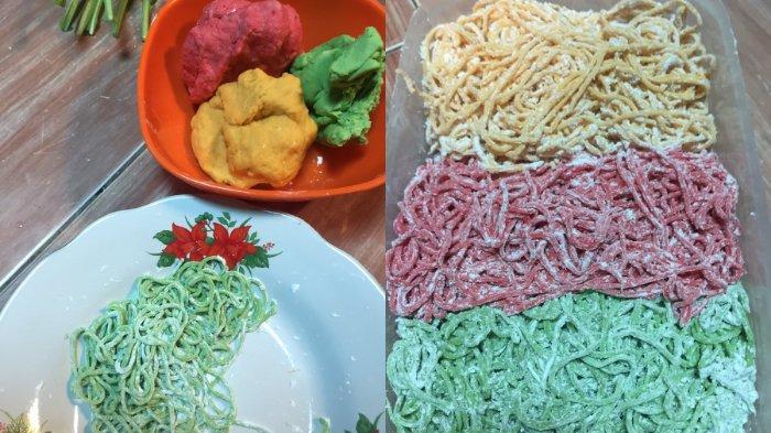 Viral mie sehat warna-warni berbahan dasar sayur dan buah (Twitter @akuuwonderwoman).