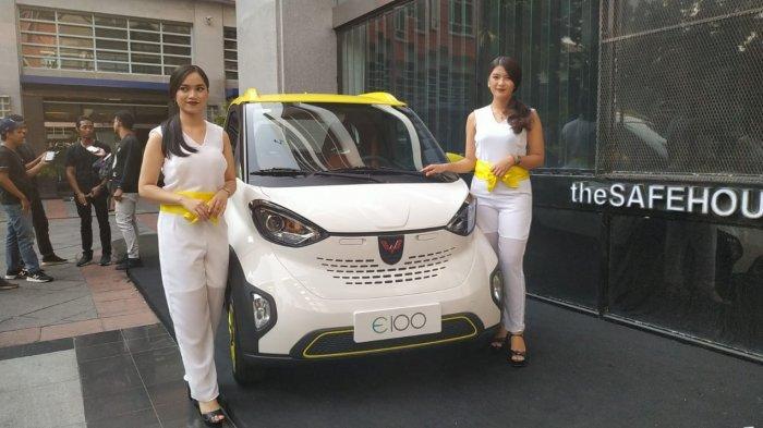 Mobil listrik Wuling E100 yang akan tampil di pameran Indonesia Electric Motors Show 2019, 4-5 September 2019 di Balai Kartini, Jakarta.