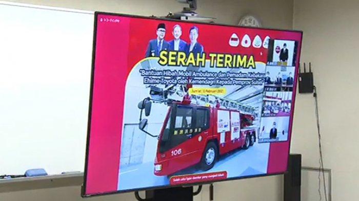Upacara serah terima lewat Zoom 5 Februari 2021 antara Pemda Ehime dengan Pemerintah Sulawesi Selatan.