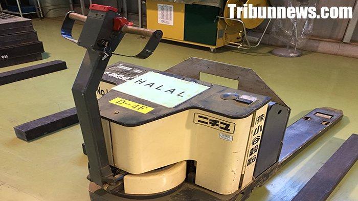 Mobil pengangkut barang Forklift Halal di pabrik teh Odani Kokufun Co.Ltd.