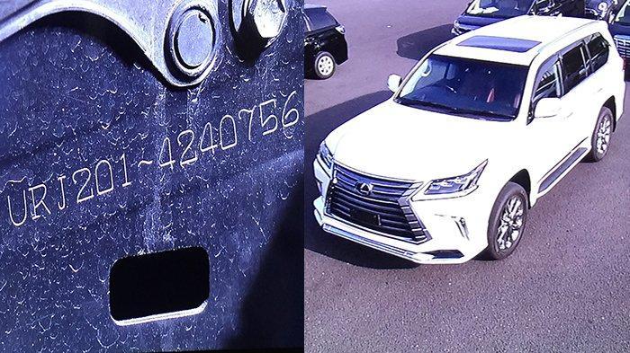 Mobil Toyota Lexus LX570 dengan nomor body palsu (kanan) dan grafir no body palsu (kiri) yang ada di kerangka dalam bagian ban depan kanan.