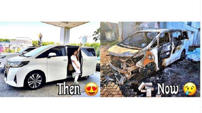Mobil Via Vallen sebelum dan sesudah dibakar