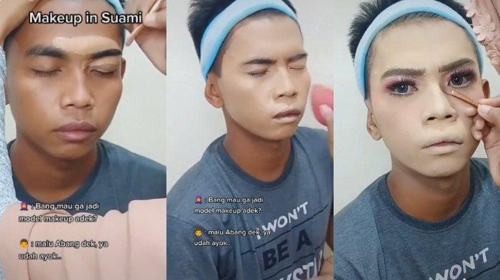 Viral Suami Rela Jadi Model Make Up karena Ingin Dukung Istri Jadi MUA, Begini Kisah Lengkapnya