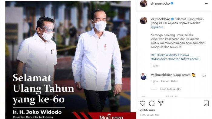 Kepala Staf Presiden Moeldoko beri ucapan selamat ulang tahun kepada Jokowi, Senin (21/6/2021).