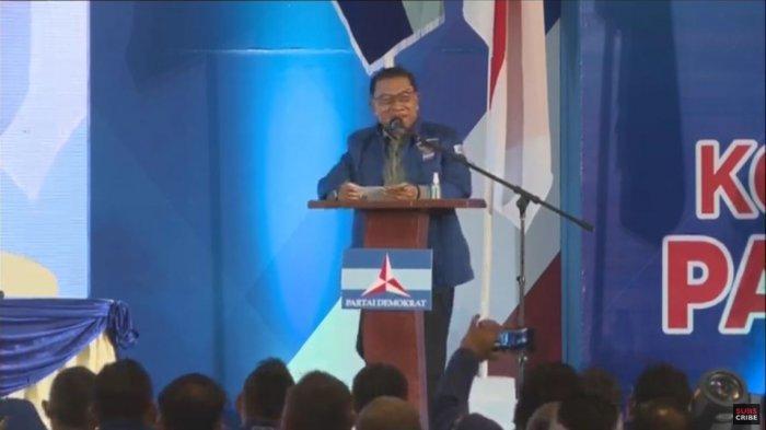 Ketua Umum (Ketum) Partai Demokrat versi Kongres Luar Biasa (KLB) Deliserdang, Sumatera Utara, Jenderal (Purn) TNI Moeldoko menyampaikan pidato politik pertamanya, Jumat (5/3/2021) malam.