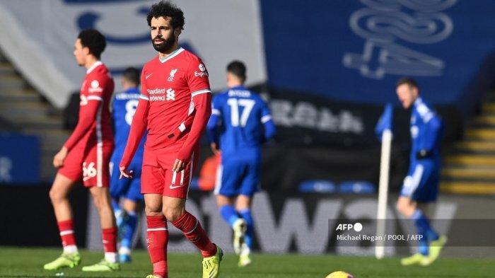 Gelandang Liverpool Mesir Mohamed Salah bereaksi selama pertandingan sepak bola Liga Premier Inggris antara Leicester City dan Liverpool di Stadion King Power di Leicester, Inggris tengah pada 13 Februari 2021. Michael Regan / POOL / AFP