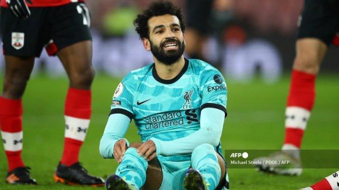Gelandang Liverpool Mesir Mohamed Salah bereaksi setelah kehilangan kesempatan dalam pertandingan sepak bola Liga Premier Inggris antara Southampton dan Liverpool di St Mary's Stadium di Southampton, Inggris selatan pada 4 Januari 2021. Michael Steele / POOL / AFP