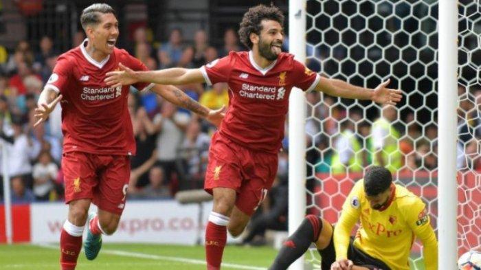 Aksi selebrasi penyerang Liverpool, Mohamed Salah (kanan), setelah menjebol gawang Watford dalam partai Liga Inggris di Vicarage Road, 12 Agustus 2017. OLLY GREENWOOD/AFP/BOLASPORT.COM