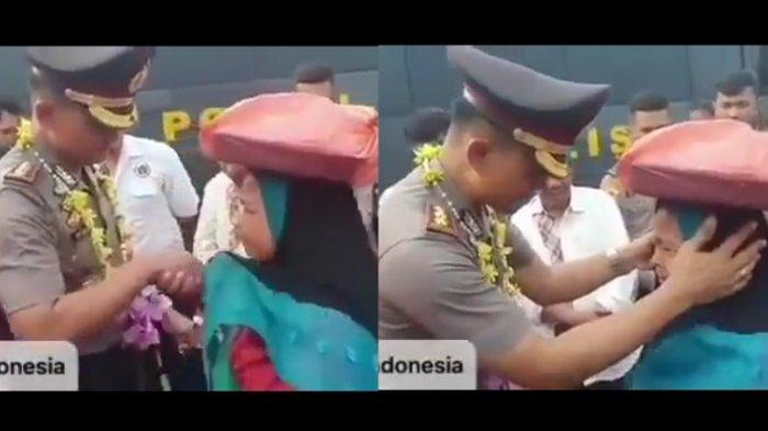 Momen haru polisi dan pedagang onde-onde viral