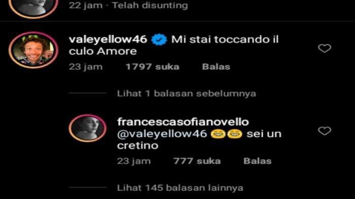 Momen komentar Valentino Rossi bersama sang kekasih di media instagram