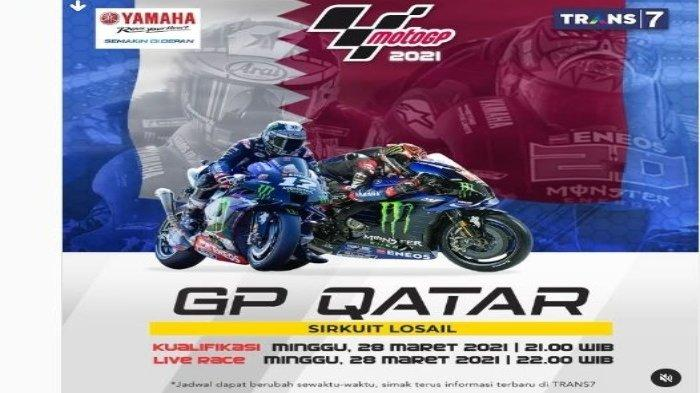 LIVE STREAMING TV Online TRANS7, MotoGP Qatar 2021 Sirkuit Losail, Malam Ini, Tonton Lewat HP Gratis