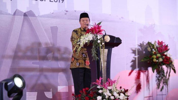 Wakil Ketua MPR, Hidayat Nur Wahid, dalam pembekalan kepada anggota DPR dan DPD terpilih di Gedung Nusantara IV, Kompleks Parlemen, Jakarta, Sabtu malam (28/9/2019).