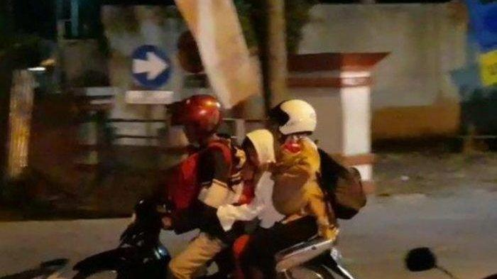 Keluarga Ini Mudik dari Pemalang ke Surabaya Mengendarai Satu Sepeda Motor Berlima