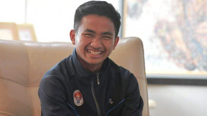 Pemain Persela Lamongan, Muhammad Hambali Tolib saat diterima Menpora Imam Nahrawi di Kemenpora, Jakarta, Rabu (12/6/2019). Tribunnews/Abdul Majid