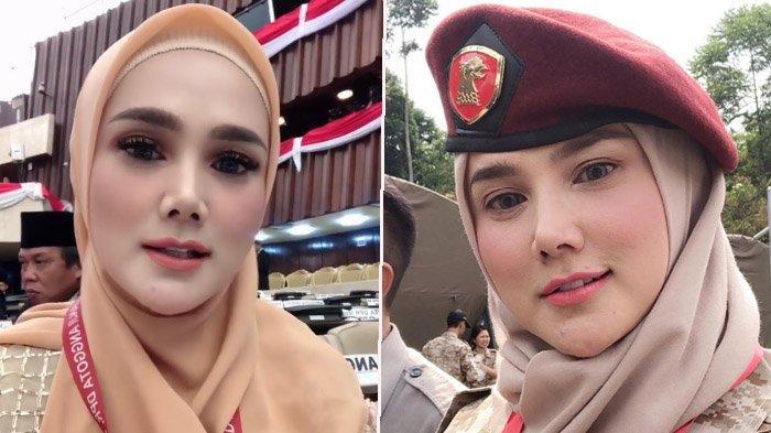 Mulan Jameela pakai baju bodo pada pelantikan anggota DPR RI, Selasa (1/10/2019).