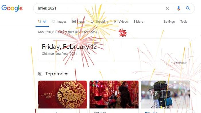 Cara Google Rayakan Imlek 2021, Muncul Animasi Kembang Api di Halaman Pencarian
