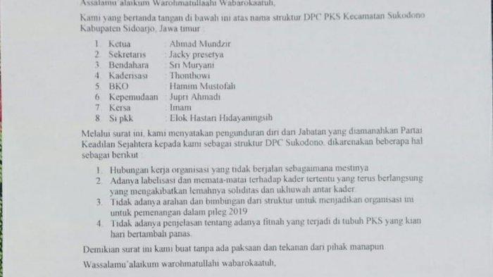 Ketua DPP PKS Bungkam soal Mundurnya Sejumlah Kader dan Pengurus DPC PKS Kecamatan Sukodono