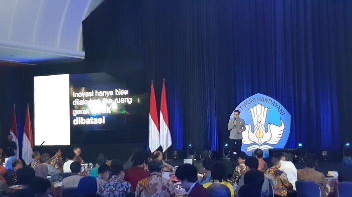 Menteri Pendidikan dan Kebudayaan (Mendikbud) Nadiem Makarim saat peluncuran program Kampus Merdeka.