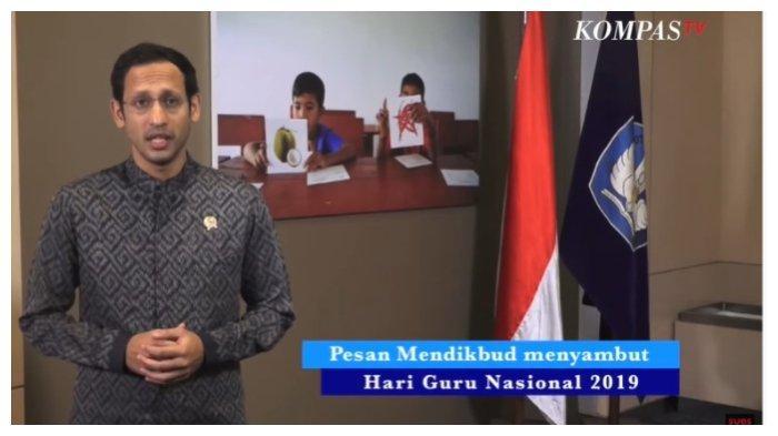 Nadiem Makarim Sampaikan Pidato Hari Guru Nasional, 25 November 2019 di Kemendikbud.(Tangkap Layar YouTube Kompas TV)