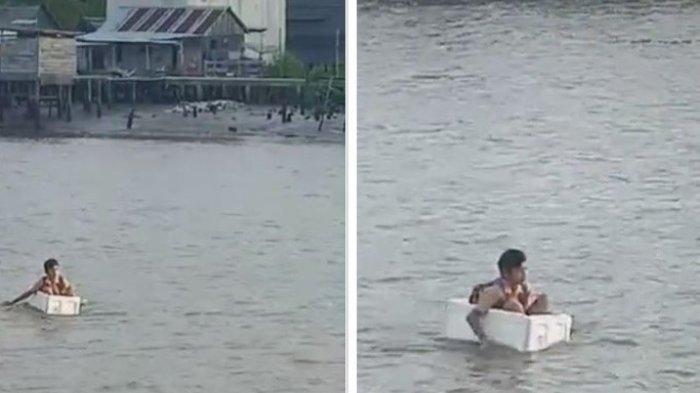 Aksi Bocah SD Seberangi Sungai Pakai Styrofoam Viral di Media Sosial, Berikut Penjelasan Kepala Desa