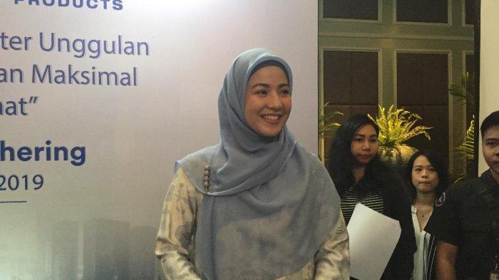 Natasha Rizky saat ditemui di saat ditemui di acara 3M di Jakarta Pusat, Senin (5/8/2019).